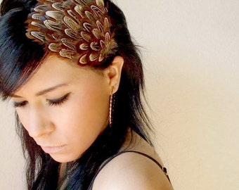 natural brown feather hair clip or headband - bohemian feather fascinator - women's hair accessory - women's headband - feathers - GIANNA