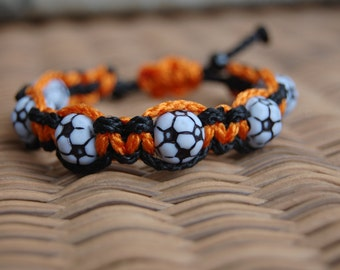 Orange and Black Soccer Bracelet  - More cord colors and sports theme options available