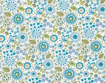 25171  Dena Designs Little Azalea Petunia PWDF173 Aqua - 1/2 yard