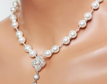 Swarovski Crystal Filigree Wedding Necklace, Crystal and Rhinestone Drop Bridal Necklace, Swarovski Crystal White Pearls