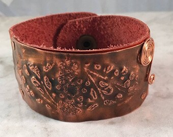 Burnt Orange Colored Leather and Textured Copper Cuff Bracelet
