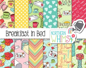 "Mother's Day Digital Paper - ""Breakfast In Bed"" - mugs, trays, beds, and bouquets -  seamless patterns - scrapbook paper - commercial use"