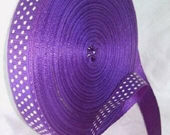 2 meters fancy Ribbon 10 mm purple polka dot grosgrain