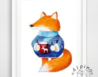 Happy fox art print, UNFRAMED, fox poster, fall home decor, tea cup, fox illustration, nordic fox, warm winter, coffee cup, cute red fox
