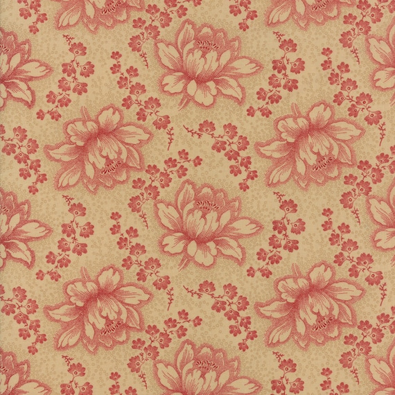 Farmhouse Reds Etched Floral in Red Flowers on Tan by Minick And Simpson. Red And Cream Quilt Supply For Moda Fabric By The Yard 14850 12