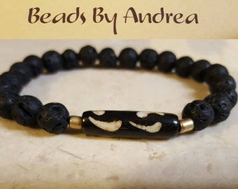 Batik bone bracelet