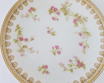 """Haviland Limoges France Pink Rose Gold Trim 7 1/2"""" Plate / Dish"""