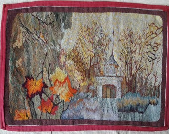 Textile picture. Hand woven Russian gobelin depicting park.