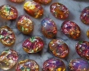 SALE 24+ 36+pc Old 8/6 Oval Japan Fire Opal Art Glass Harlequin Cabochon Unfoiled 6/8 mm Stone Flat Back Pink Green Amber Imitation Stone 4Q