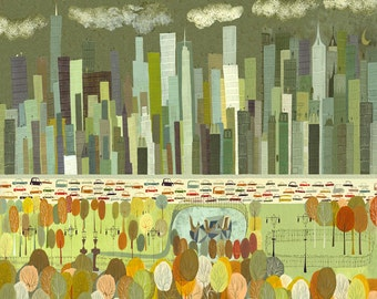A view of Central Park. Limited edition print by Matte Stephens.