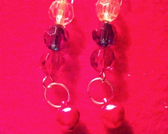 Christmas Dangle Earrings with Red Bell