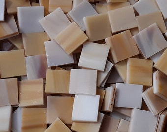 "100 1/2"" Sandy Tan Stained Glass Mosaic Tiles"