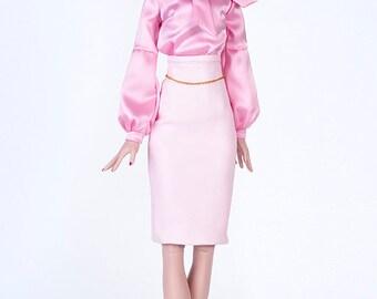 ELENPRIV pink leather pencil skirt for Tonner Deja Vu dolls and similar body size dolls