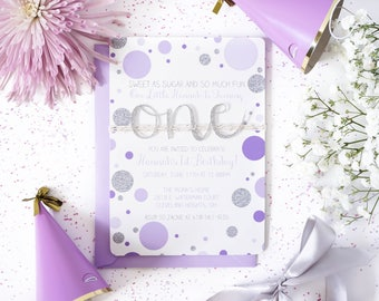 Purple and Silver first birthday invitation | Confetti First Birthday invitations for girls | Glitter invite | 1st birthday invites for Girl