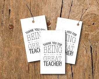 INSTANT UPLOAD - Teacher Appreciation Tags, Teacher Gift Tags,Thank You Teacher Card,Teacher Thank You Tag,Teacher Gift, Teacher Holiday Tag