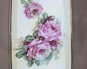 Vintage Vanity Porcelain Tray Three Crowns Germany Pink Roses