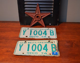 1974 Ohio License Plate 1974 Collectible License Plate Y 1004 B  Ohio Memoribilia Turning 43 43rd Gift 43rd Birthday Present 43