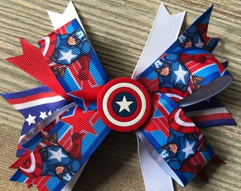 Marvel Captain America Avengers Inspired Stacked Boutique Simple Bow 5 inches Shield Center with Alligator Clip