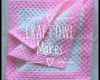 Pink baby blanket, granny square blanket, medium crochet baby blanket, stroller blanket, lap blanket, crochet square, baby blanket, blankie