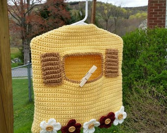 Crochet Garden Window Clothespin Bag PATTERN ONLY pdf instant digital download clothesline country flowers laundry hanger