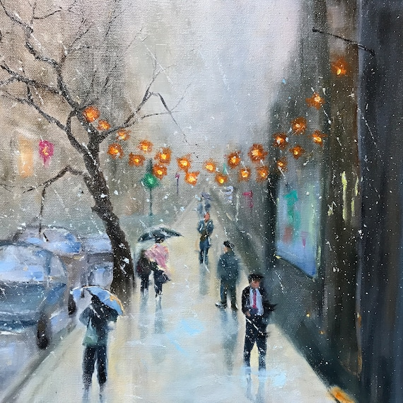 Street Painting, City Art, Rainy Landscape, City Oil Painting, NYC Landscape