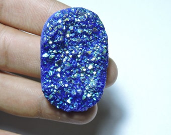 1 Piece Beautiful Natural Blue Titanium Coated Druzy Oval Shaped Bead Size 30X18 MM