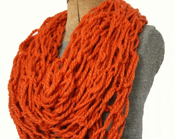"""Knitted Infinity Scarf - Pumpkin 100"""" Long"""