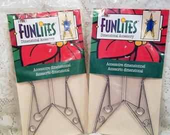 Suncatcher Christmas Ornament Kit, Vintage Plaid FunLites, Dimensional Ornament, Star, Set of 2 Packages