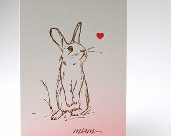 Mothers Day Card - Rabbit Letterpress - Mum - Mom Letterpress Mother's Day Greetings card