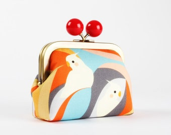 Metal frame coin purse with color bobble - Parakeets - Color dad / Lovely korean fabric / Tropical birds / red gray white orange blue