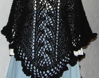 Pattern Hand Knit Lace Shawl With Lace Ruffle Top Down Anna's Shawl Pattern