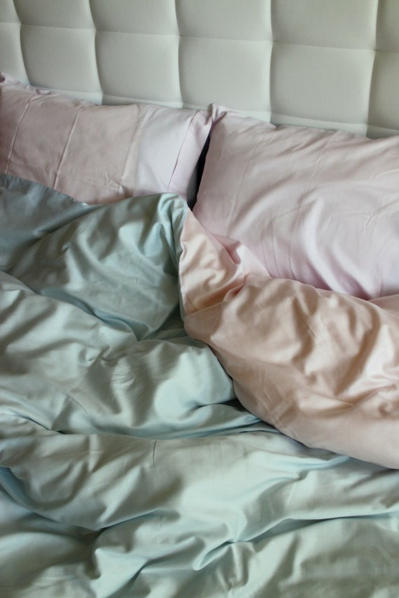 Full Double Queen Duvet Cover Blue And Pink Cotton Satin
