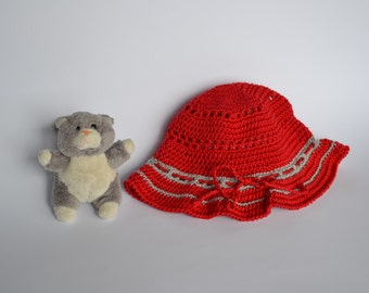Summer baby accessories, Baby red hat,  Crochet infant hat, Baby gift hat  1 to 3 months