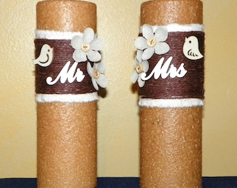 Mr & Mrs. 9 Inch Flame-less Textured Timer Candles