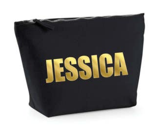 Custom Make Up Bag, Gold Cosmetic Bag, Make Up Case, Bold Font Friend Gift, Make Up Case, Black and Gold, Toiletry Bag, Bridesmaid Gift
