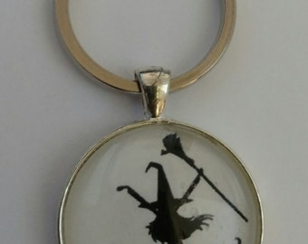 Halloween Witch Pendant-Witch Keychain-Witch Necklace-Dancing Witch and Cat-30mm Glass Dome-Shiny Round Silver Tray-Lobster Clasp-Rolo Chain