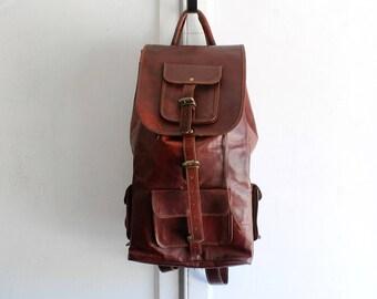 huge leather backpack rucksack oxblood
