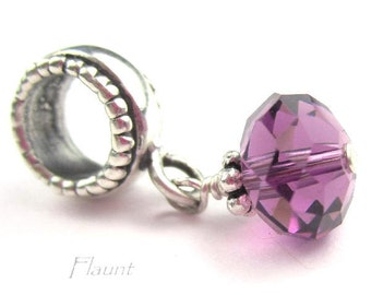 February Birthstone Bracelet Charm Sterling Silver and Purple Crystal for European Jewelry