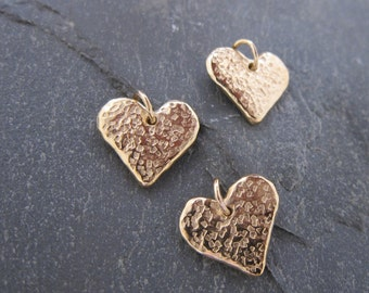 "Pendant ""Kloe"" gold heart designed by Stephane de Blaye , reclaimed bronze, pendentive, charm."