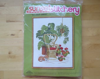 1970s Vintage Crewel Embroidery Kit by Sunset Stitchery - Solarium Garden