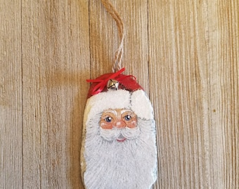 Hand Painted Slate Christmas Santa Ornament Personalized w/ your name and year