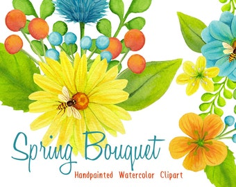 invitation florals clipart, watercolor flowers bees and honey graphics florals for invites, wedding watercolor clipart spring bouquet