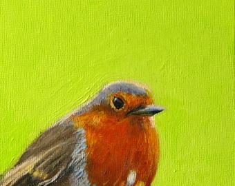 American robin robin painting bird paintings lime green original bird painting original robin small original robin painting