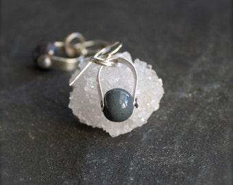 Enamel Earrings - Grey Blue, Vitreous Glass Enamel, Pendulum Drop Earrings, Sterling Silver Rivet, Boho Metalwork Jewellery