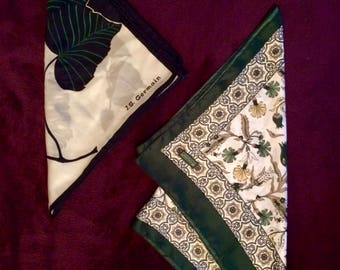 J.S. Germain signed scarf, 70s + Arts of Ottoman silk scarf