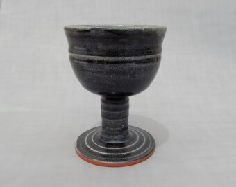 Wine Goblet - Black Pottery - Wheel Thrown and Hand Carved - Handmade Pottery