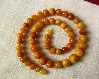 "Baltic Amber Necklace 22"" Natural Butterscotch Yellow Yolk Round Amber Beads 39,2 gr"