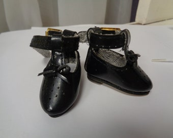 Teeny Tiny Black  Doll Shoes  Vintage Doll Shoes-Size 8