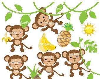 monkey clipart whimsical monkeys clip art cute monkeys rh etsy com cute baby monkey clipart cute monkey clipart