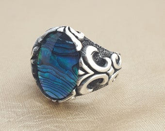 925K sterling silver mens ring with abalone  stone